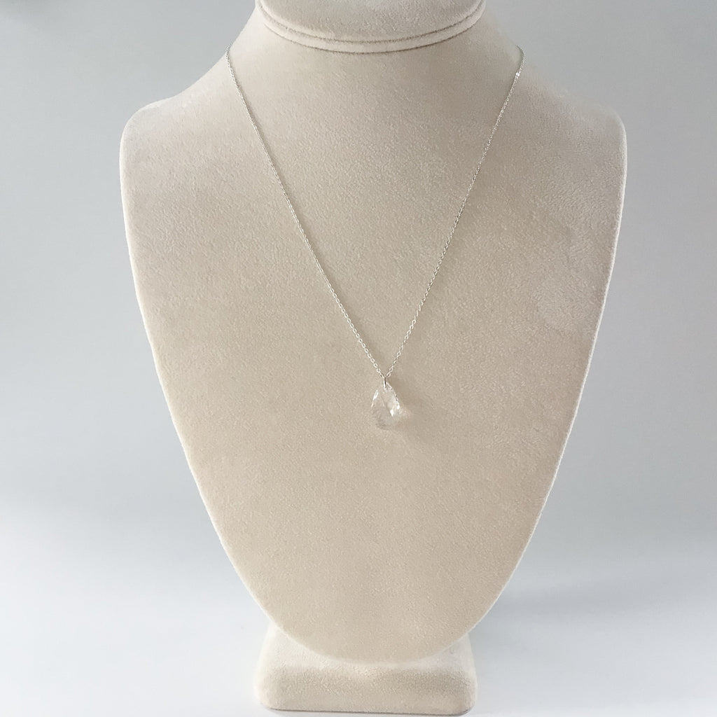 simple tear drop crystal pendant, bridal and prom jewelry