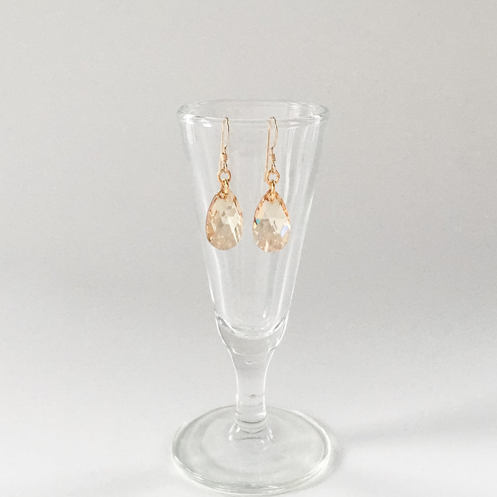 gold teardrop earrings, bridal and prom jewelry