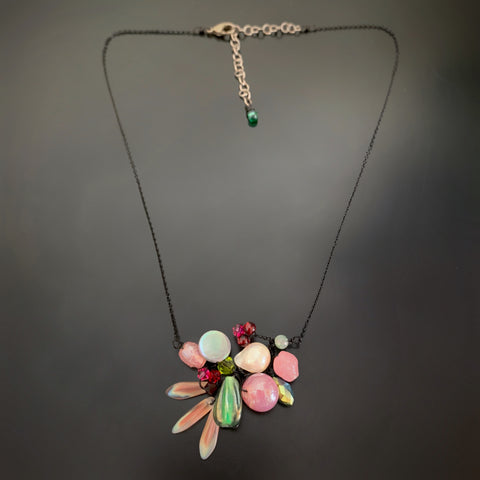 Bouquet Necklace in Pink with Black Chain