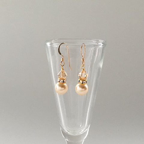 affordable gold bridesmaids gift jewelry earrings pearl drop