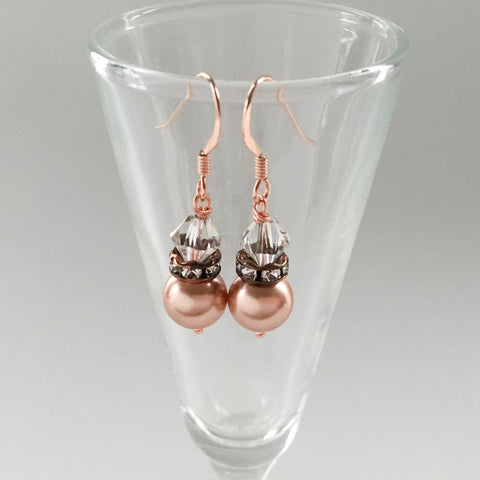 rose gold bridesmaids earrings gift jewelry pearl drop