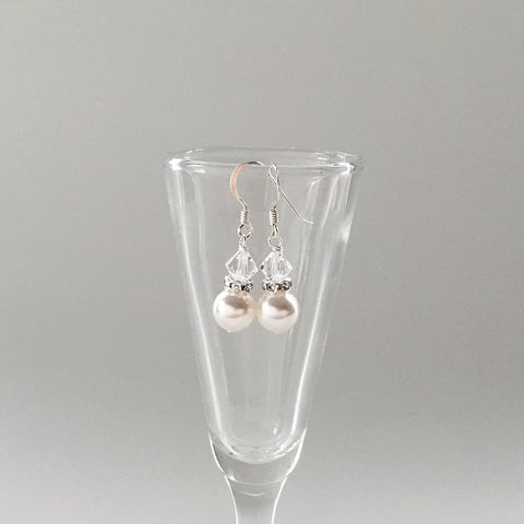 bridesmaids gift earrings white pearl and crystal drop