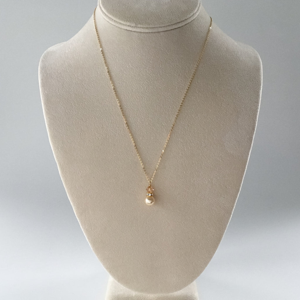 affordable bridal attendant jewelry gift gold pearl and crystal pendant necklace