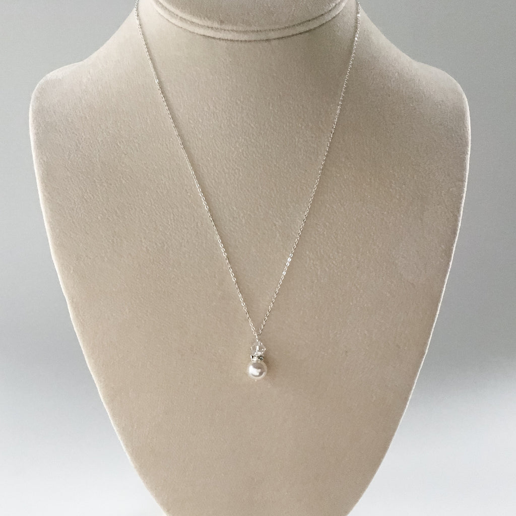 pearl drop pendant necklace in white and silver affordable bridesmaids gifts