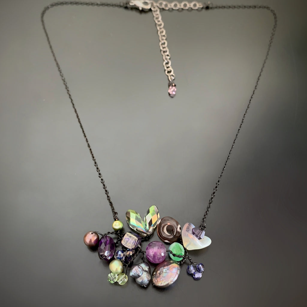 Bouquet Necklace in Purple with Black Chain