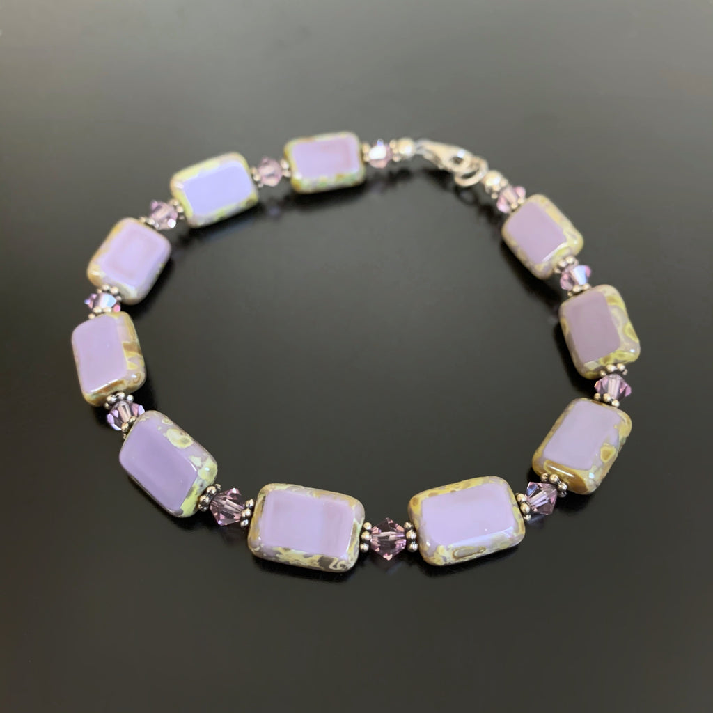 purple glass rectangle and crystal bracelet