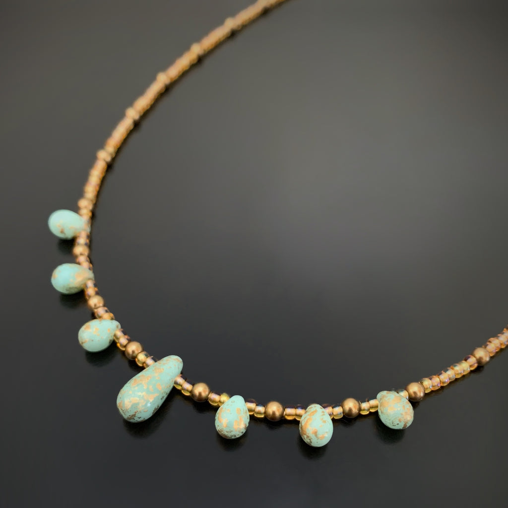 yellow gold forged wave beaded necklace peridot /& fluorite