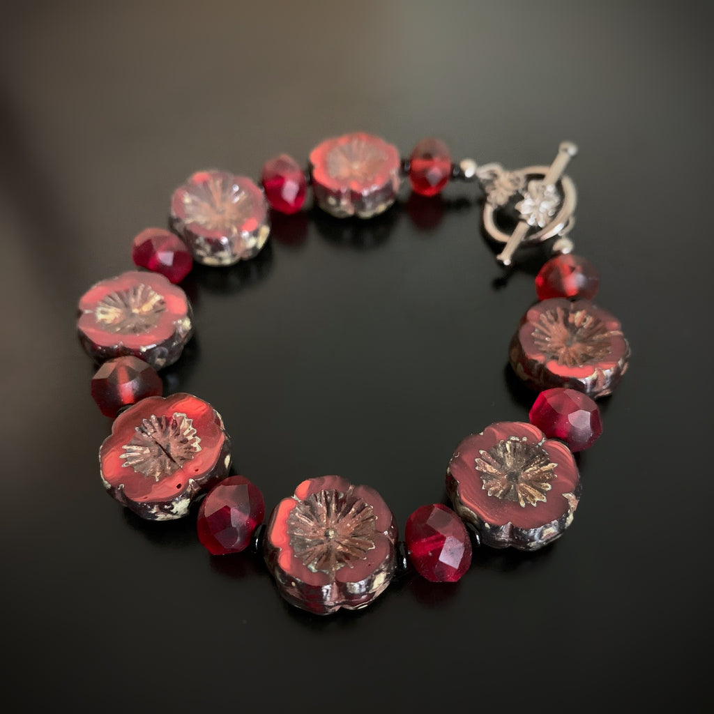 Red Czech Glass Flower Bracelet