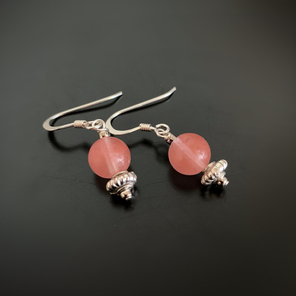 salmon pink beaded round drop earrings on sterling silver ear wires