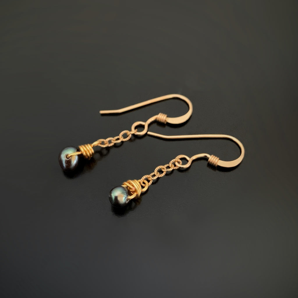 blue green freshwater pearls with gold filled ear wires