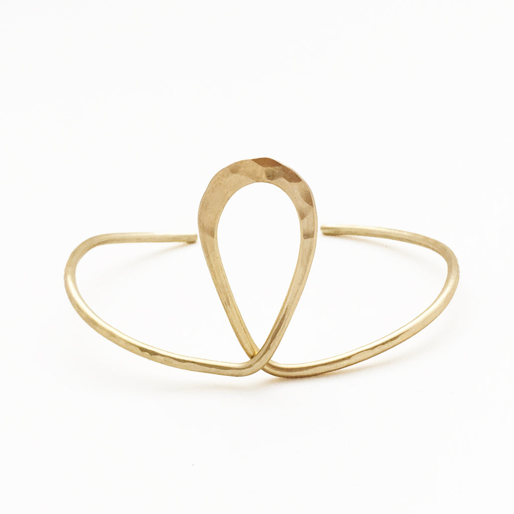 Hand fabricated brass teardrop cuff bracelet