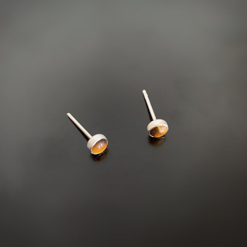 Brown Tiger Eye Small and Simple Silver Post Earrings