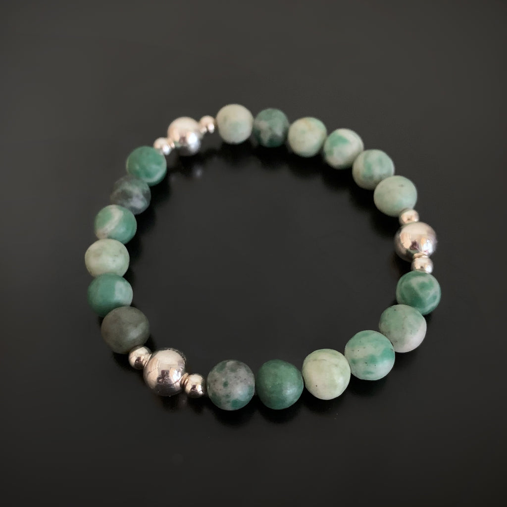 Tree Agate and Sterling Silver Stretch Bracelet