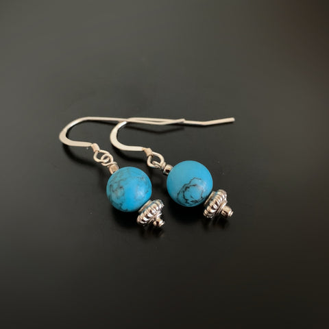 turquoise beaded round drop earrings on sterling silver ear wires