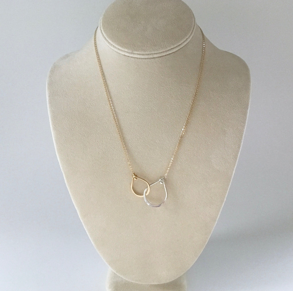 Sterling silver and gold filled interlocking tear drops necklace