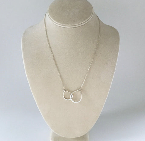 Sterling silver necklace with intertwined teardrop handmade pendant necklace