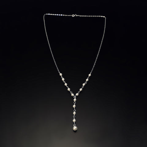 sterling silver Y pearl necklace