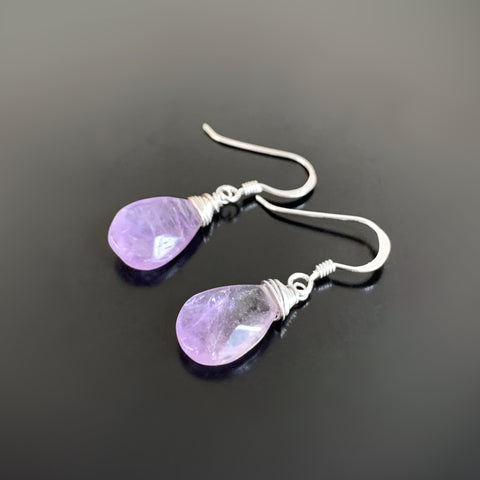 purple faceted amethyst teardrop dangle earrings in sterling silver