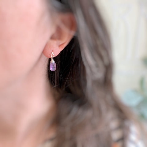 purple amethyst faceted teardrop earrings on sterling silver teardrop post