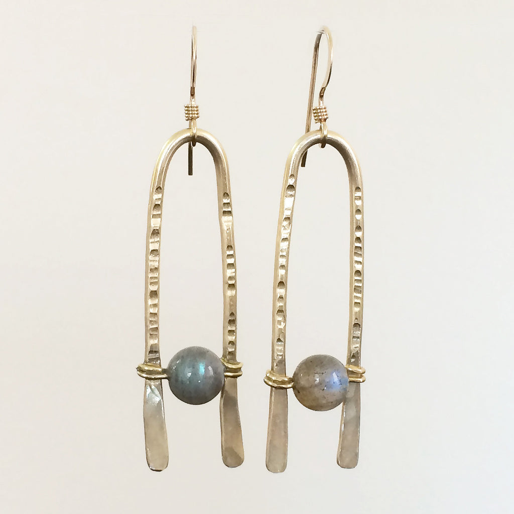 arch earrings in brass and labradorite