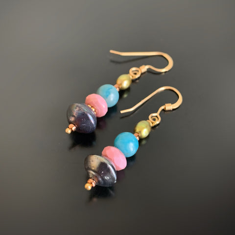 pink and blue glass stacked earrings