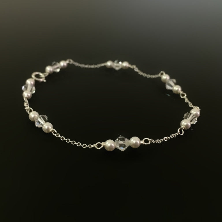 dainty sterling silver chain, pearl and crystal bracelet