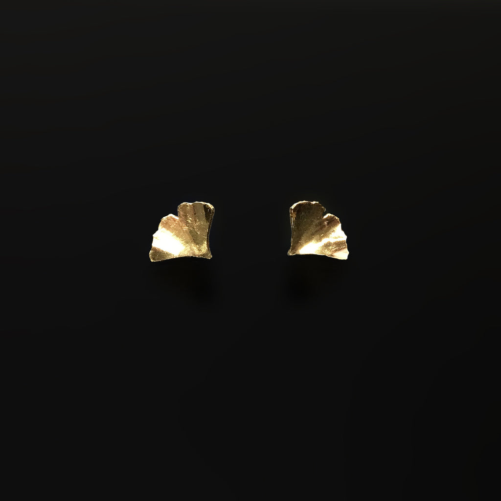 small golden brass ginkgo post earrings