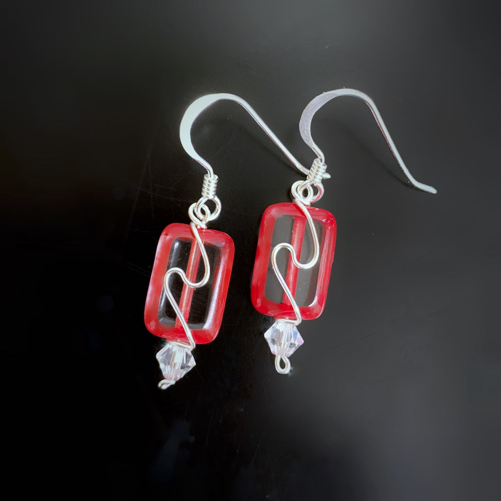 red edge clead czech glass rectagle earrings with swirl, handmade in USA