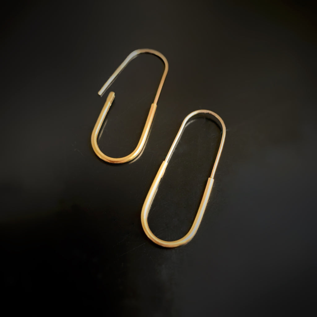 golden brass oblong hoop earrings