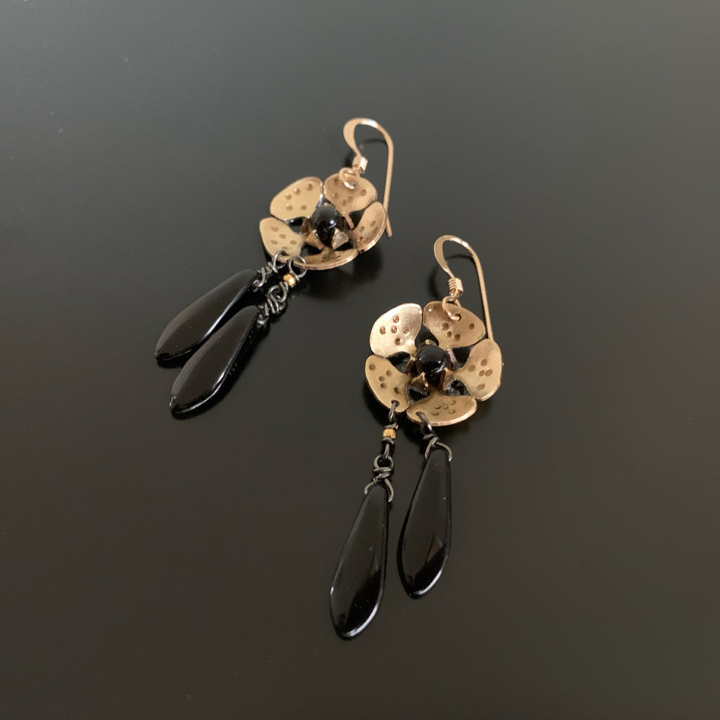 gold brass cherry blossom flower earrings with black teardrop dangles