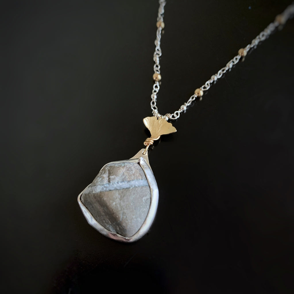 Canandaigua Lake Stone Pendant with Brass Ginkgo Leaf