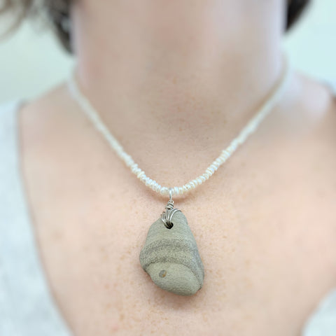 Canandaigua Lake Stone Pendant, Tan With Freshwater Pearls