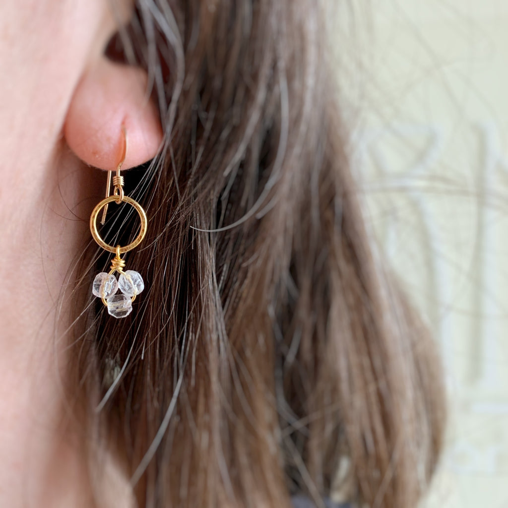 gold circle with clear glass drop earrings
