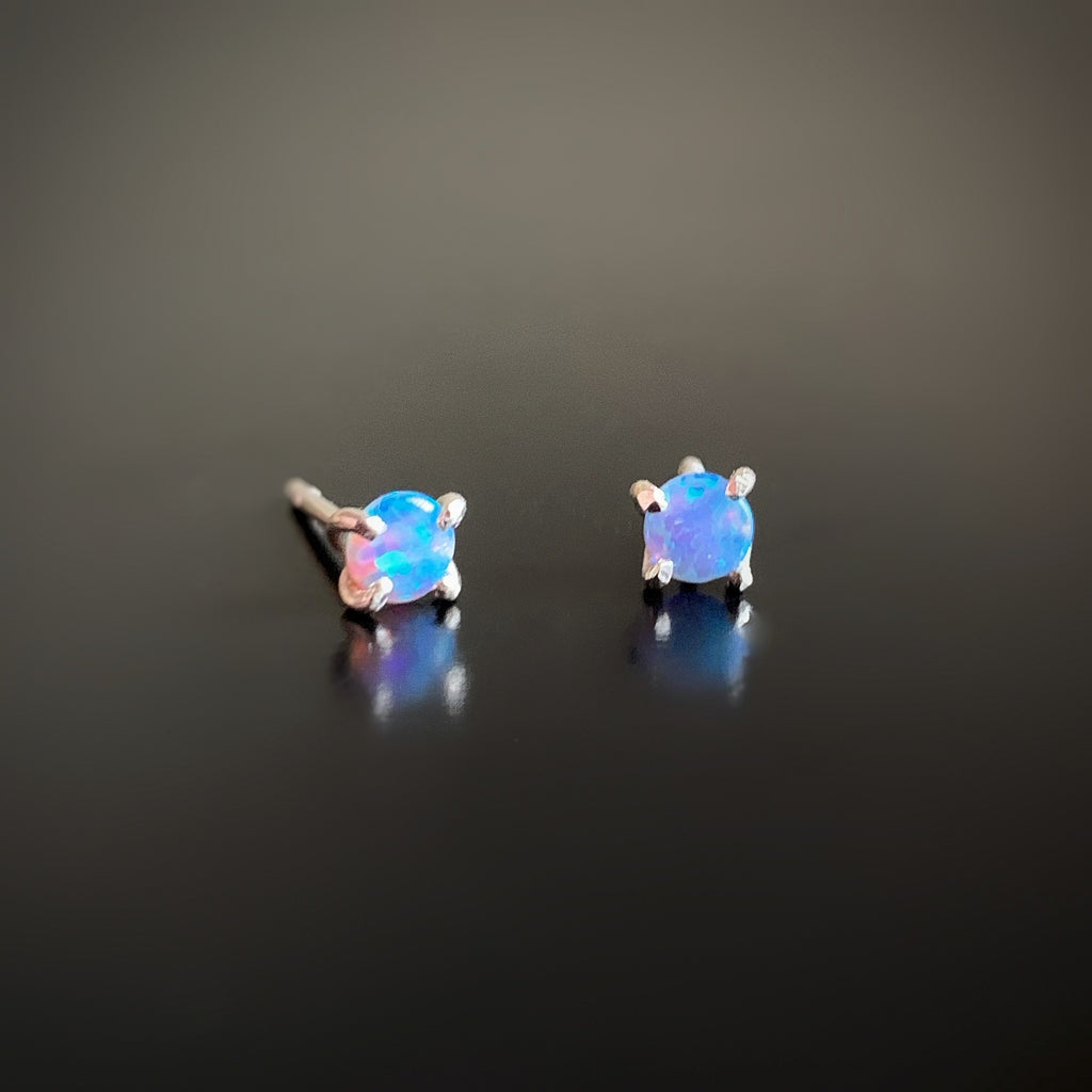 aqua blue opal post earrings on sterling silver
