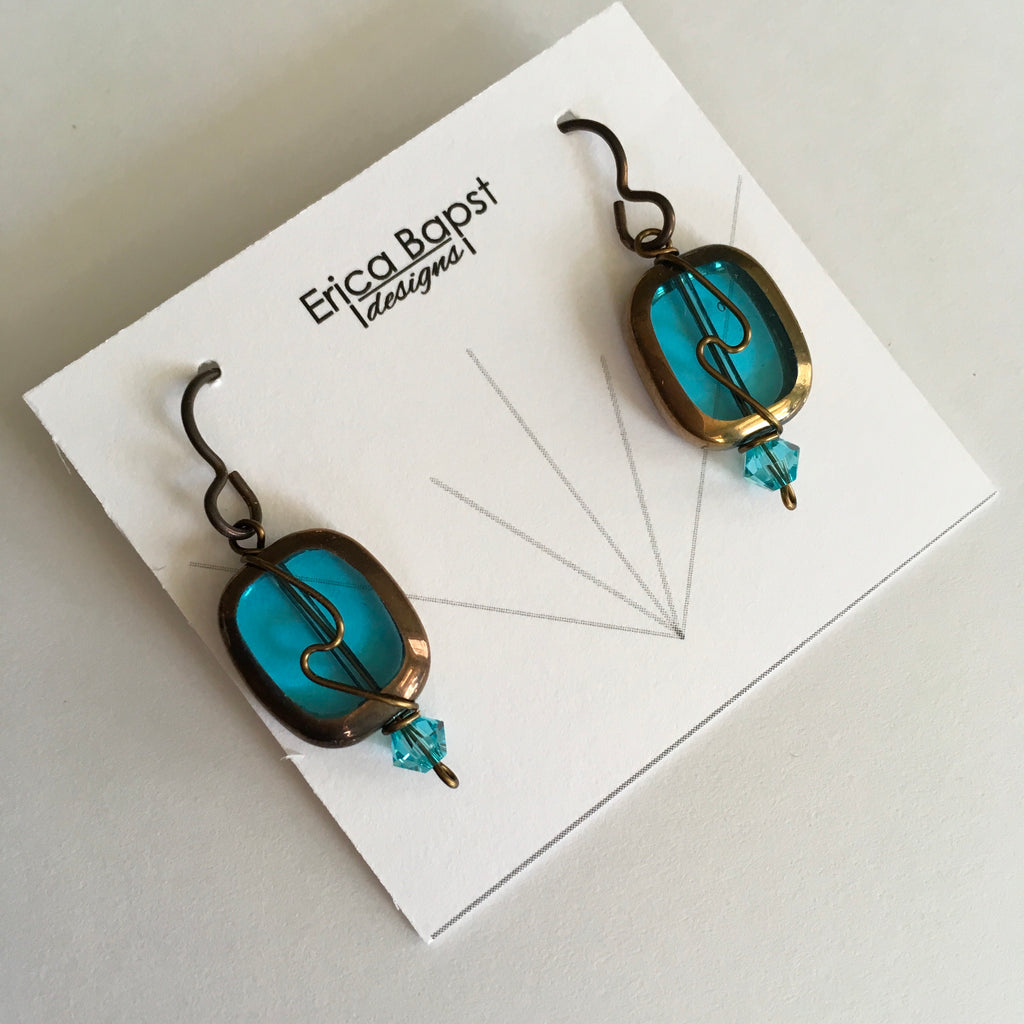 deep aqua oval swirl earrings handmade in USA
