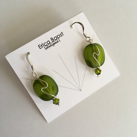 spring green oval swirl earrings handmade in USA