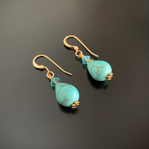 turquoise teardrop earrings with crystal accents on gold