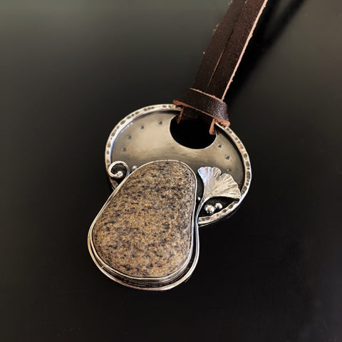 Seneca Lake Stone Pendant with Ginkgo Leaf