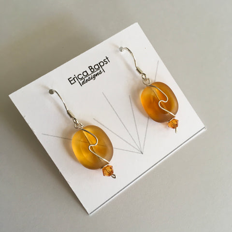 amber oval swirl earrings handmade in USA