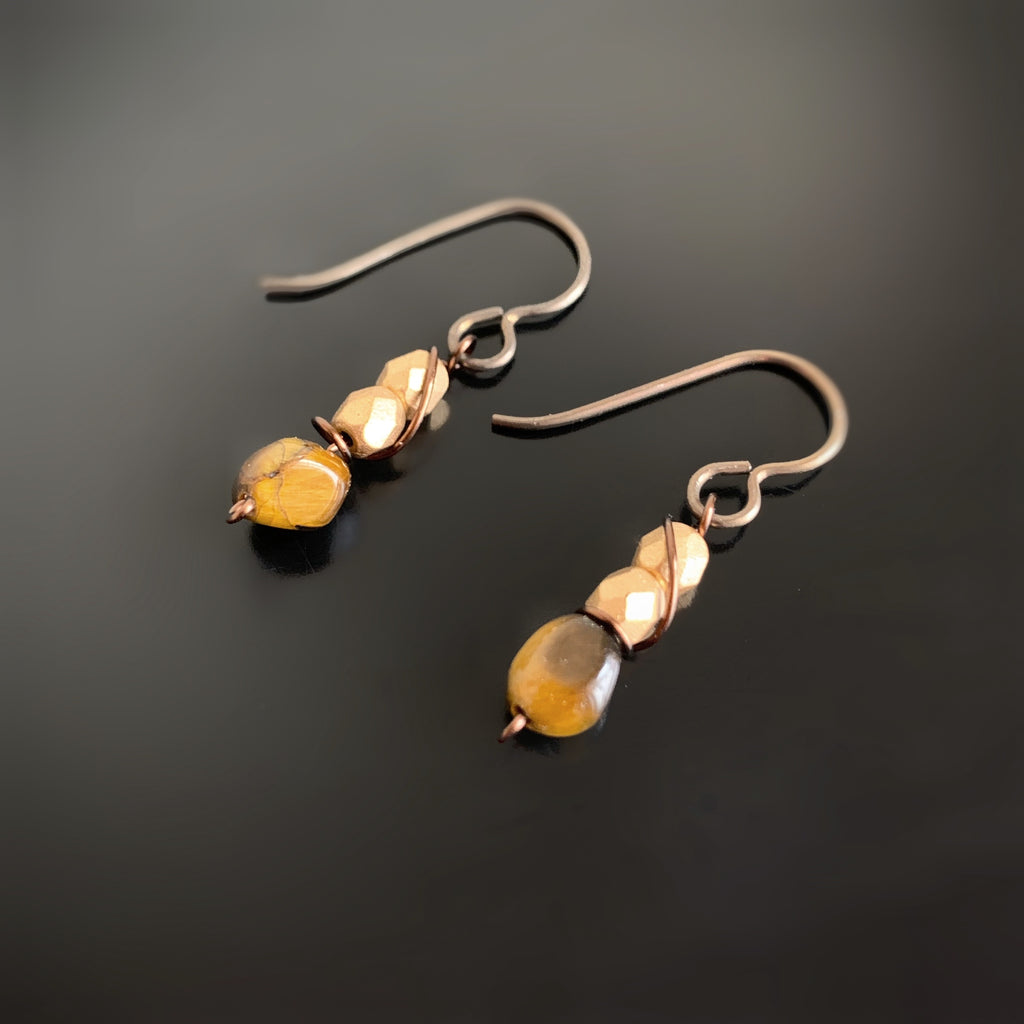 handmade earrings, tiger eye and gold czech glass