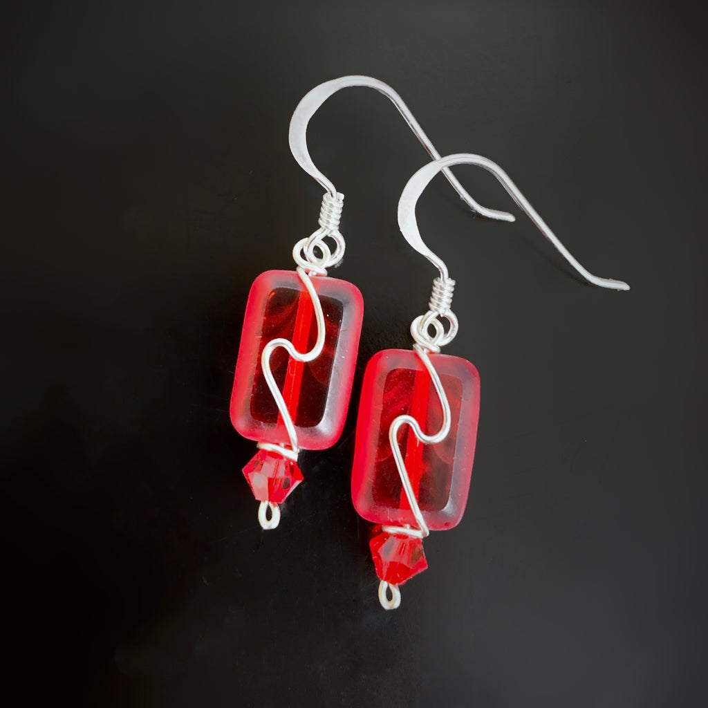 handmade earrings, red rectangle eith silver swirl