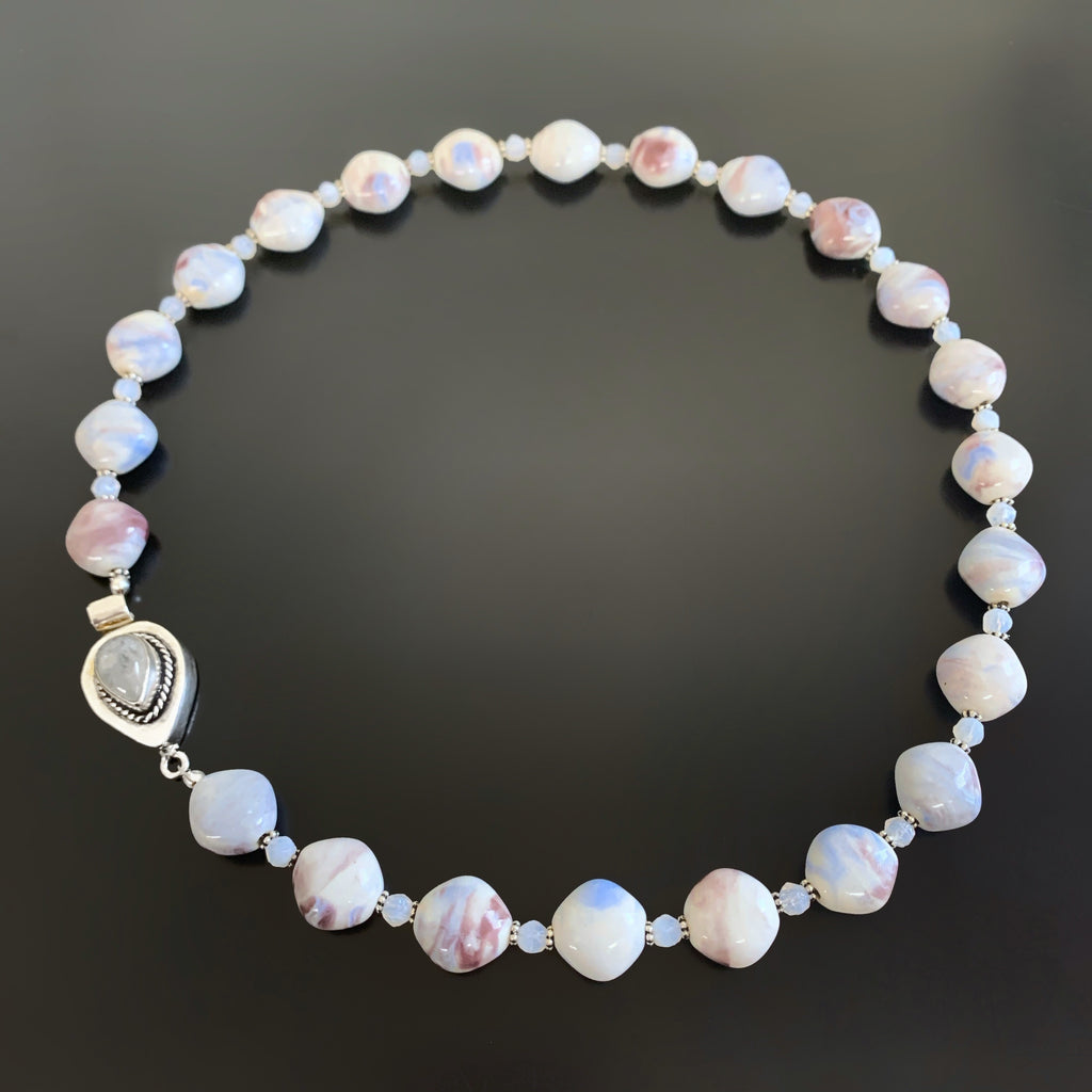 ceramic and glass necklace with ornate moonstone box clasp