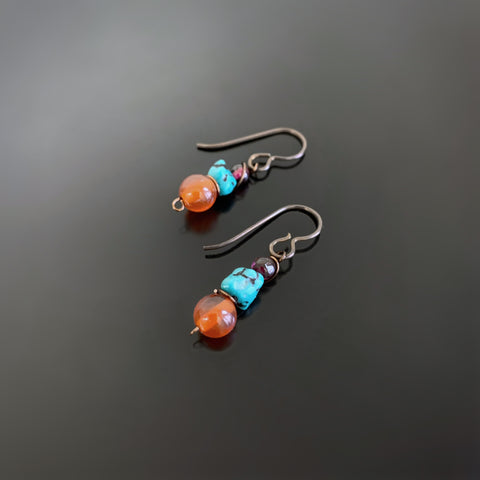 handmade carnelian, turquoise and garnet earrings on hypoallergenic niobium ear wires