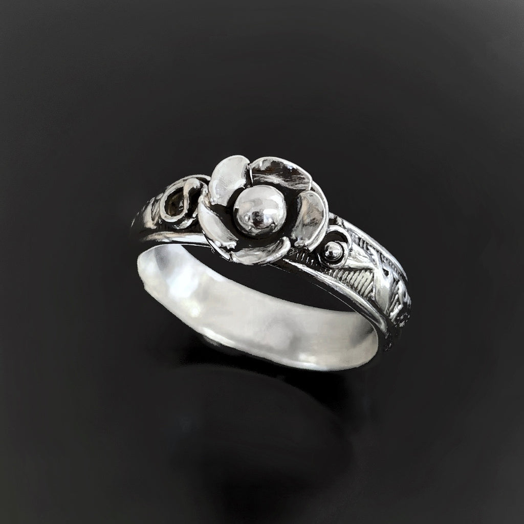 Sterling Silver Rosebud Ring With Patterned Band