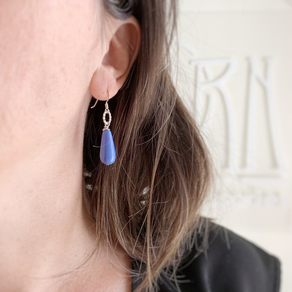 periwinkle blue glass teardrop earrings with sterling silver ear wires and twisted loop