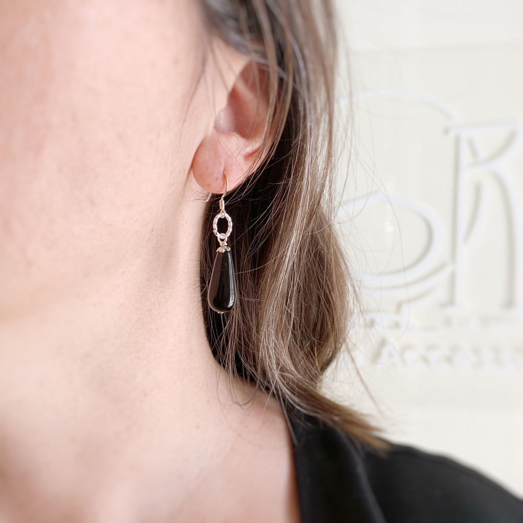 onyx black glass teardrop earrings with silver loop accent and sterling silver earwires