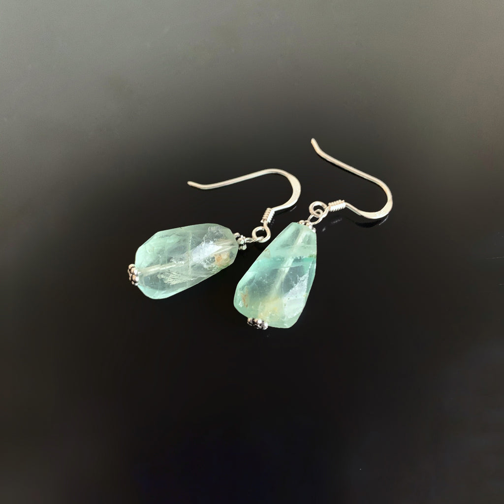 faceted green fluorite nugget earrings
