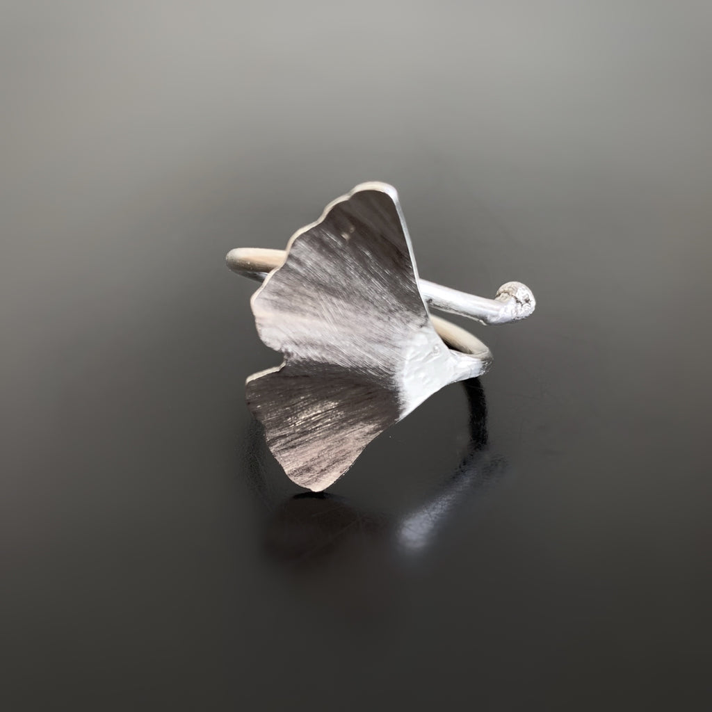 sterling silver adjustable size ginkgo ring