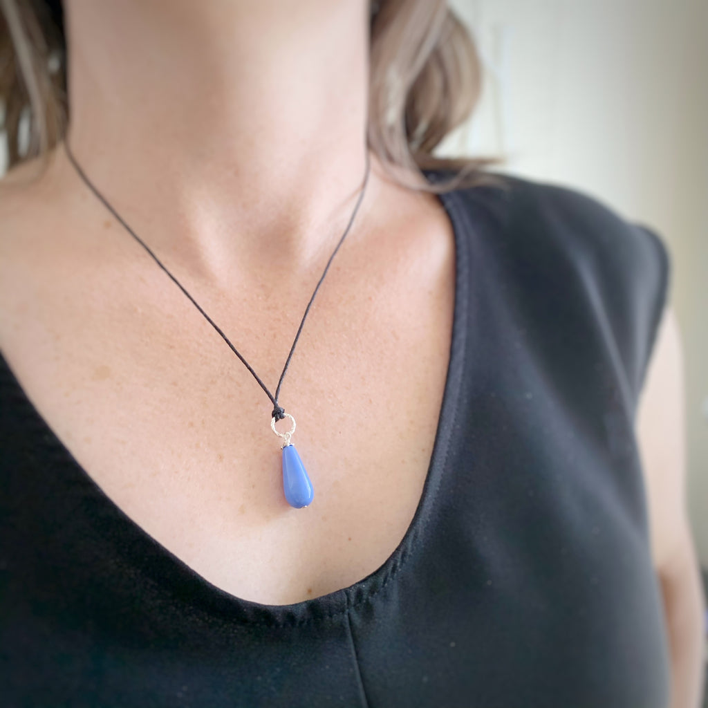 periwinkle blue teardrop necklace with silver twisted loop