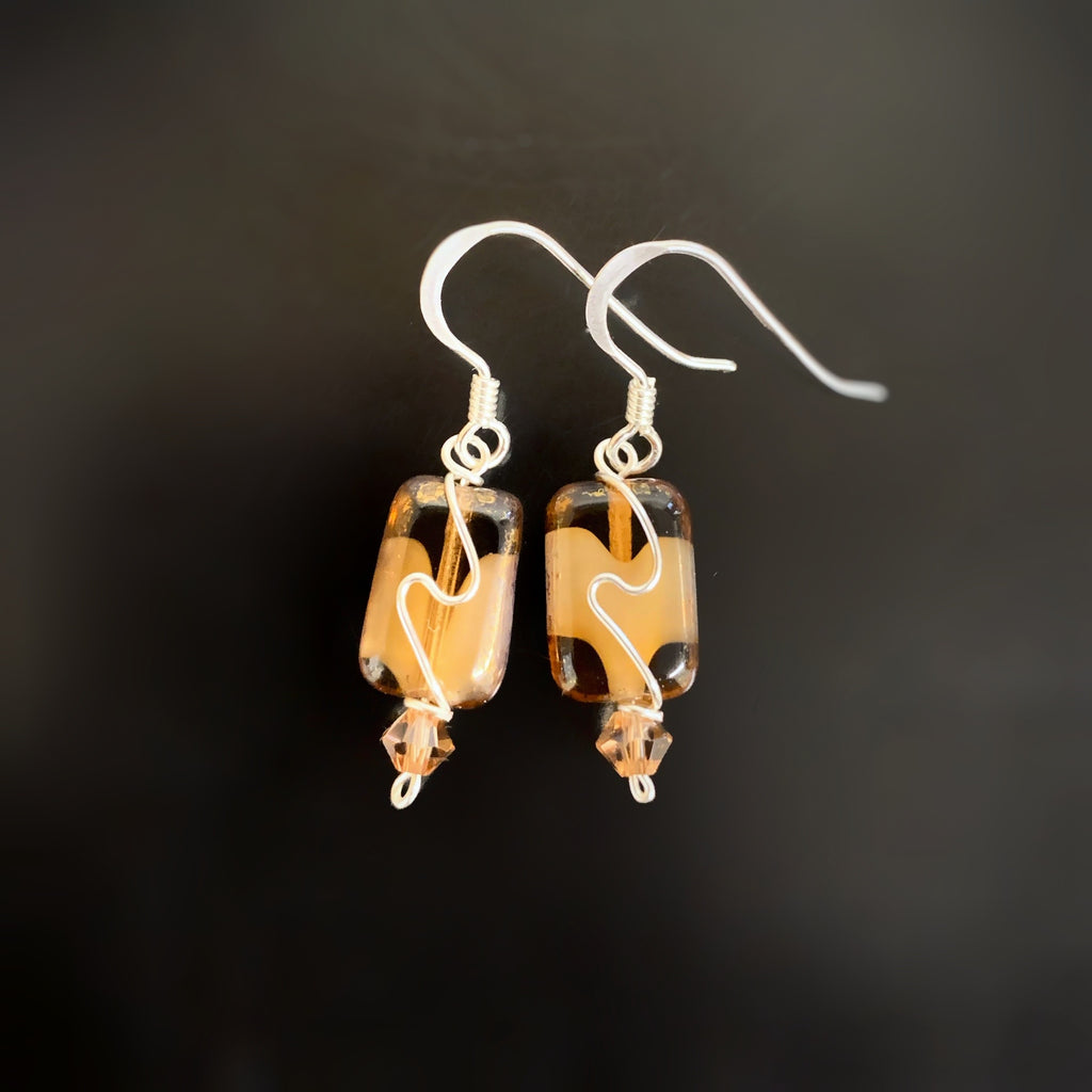 brown swirl handmade earrings